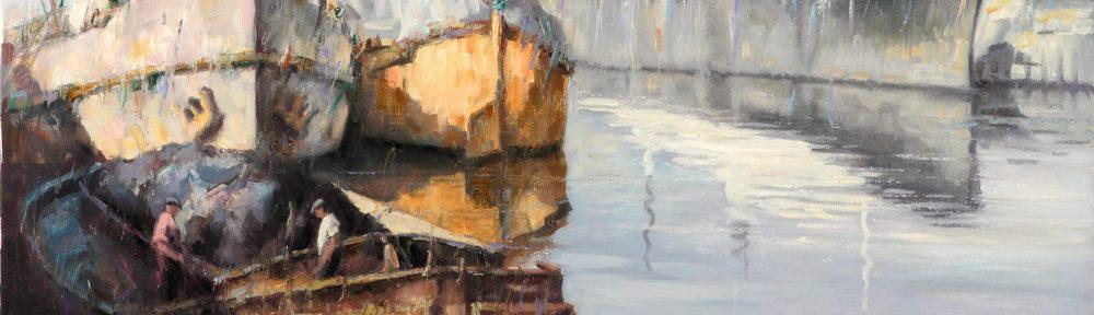 Barcos . óleo sobre lienzo . 60x80cm . 1965