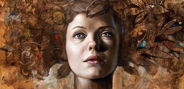 Mujer floral I, óleo sobre madera, 50x60cm, 2015