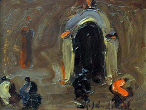 Entrando a Misa . óleo sobre tabla . 14x18cm . 1930