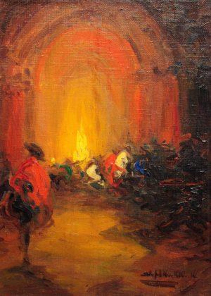 Interior de Templo . óleo sobre arpillera . 46x33cm . 1925