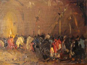Procesión . óleo sobre lienzo . 13x18cm . 1920