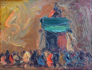 Peregrinación . óleo sobre tabla . 16x21cm . 1930