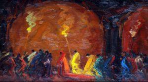 Procesión . óleo sobre tabla . 30x50cm . 1928