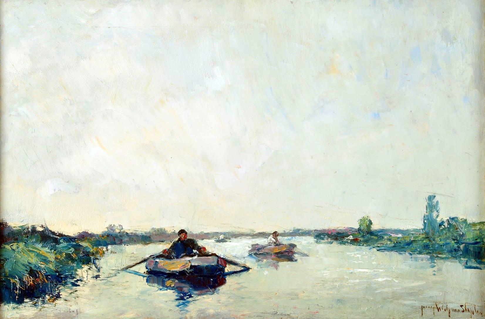 Por el Río Luján, Tigre . óleo sobre lienzo . 40x60cm . 1940