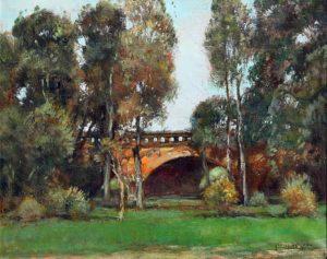 Parque 3 de Febrero . óleo sobre lienzo . 40x50cm . 1950