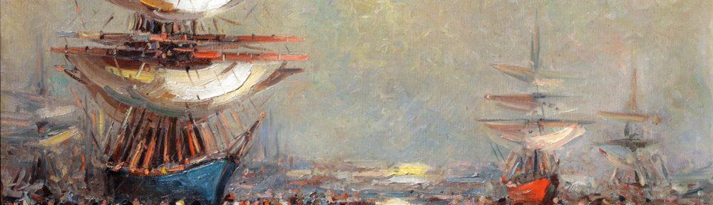 Veleros en Sol de Mayo . óleo sobre lienzo . 60x100cm . 1925
