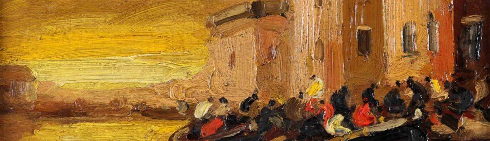 Entradas al Puerto . óleo sobre tabla . 28x36cm . 1929