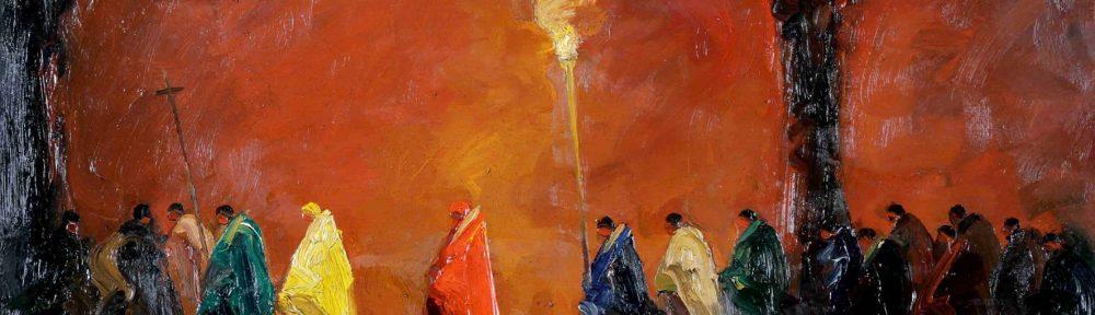 Cardenales . óleo sobre tabla . 41x60cm . 1928