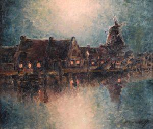 Nocturno . óleo sobre lienzo . 56x60cm . 1917