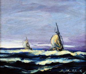 Barcas . óleo sobre tabla . 23x26cm . 1930