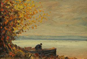 Bote en la Ribera . óleo sobre tabla . 21x29cm . 1930