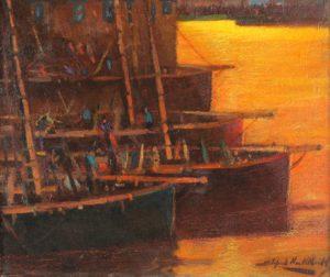 Barcas . óleo sobre lienzo . 52x62cm . 1930