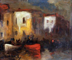 Construcciones sobre un Canal . óleo sobre lienzo . 51x61cm . 1925