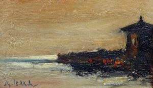En la Costa . óleo sobre tabla . 15x25cm . 1920