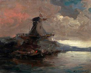 Puerto con Molino . óleo sobre hardboard . 22x27cm . 1926