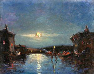 Venecia Nocturna . óleo sobre hardboard . 24x30cm . 1922