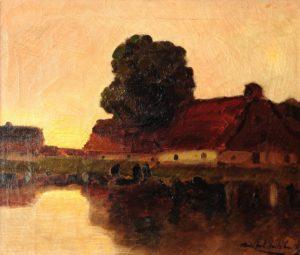 Puerto Holandés . óleo sobre lienzo . 39x46cm . 1924