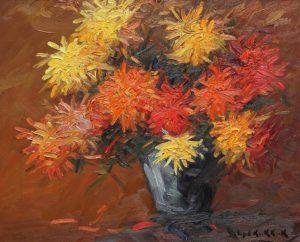 Flores . óleo sobre tabla . 50x58cm . 1932