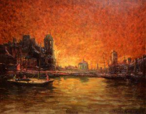 Canal de Tilbury . óleo sobre tabla . 75x95cm . 1920