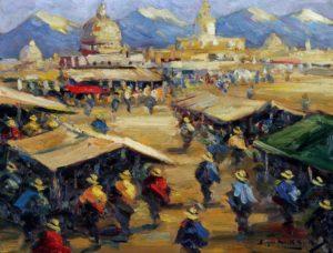 Mercado Andino . óleo sobre tabla . 40x52cm . 1928