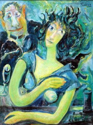 Figura y Chesterton . óleo lienzo . 80x60cm . 1980
