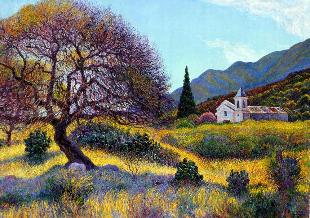Mario Sanzano es uno de los grandes paisajistas del Arte de los Argentinos. Son las sierras cordobesas su principal fuente de inspiración, su obra refleja la luz cálida y placentera de las sierras y sus alrededores con paleta de ricos colores, que plasma espátula y pincel sobre el lienzo.