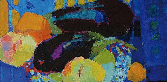 Mantel a rayas . óleo sobre lienzo . 70x50cm . 2018