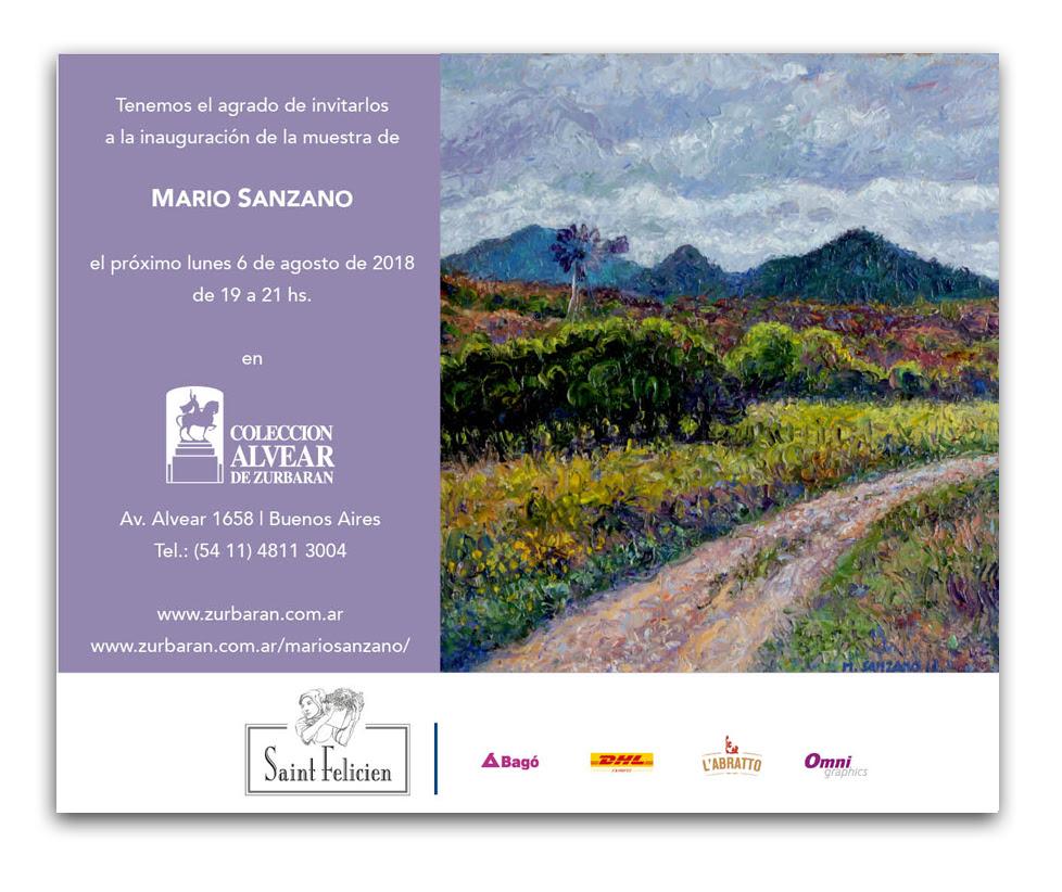Tenemos el agrado de invitarlos a la inauguración de la muestra de Mario Sanzano el próximo lunes 6 de Agosto de 2018 de 19 a 21hs, Av. Alvear 1658.