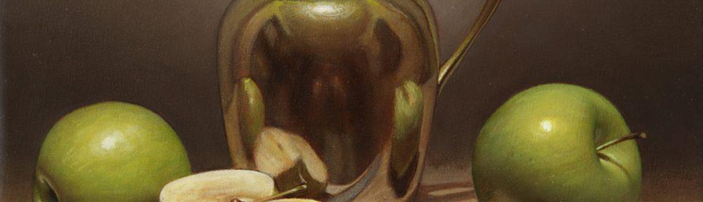 Reflejo de Manzanas . óleo sobre lienzo . 24x30cm . 2018