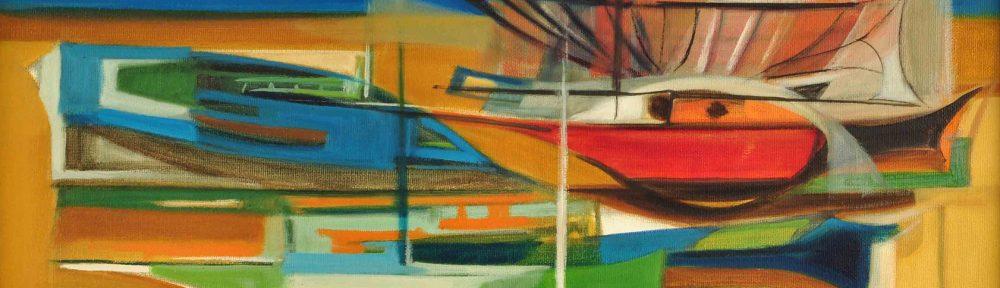 Conjunto de Barcas . óleo sobre lienzo . 50 x 70 cm . 1978