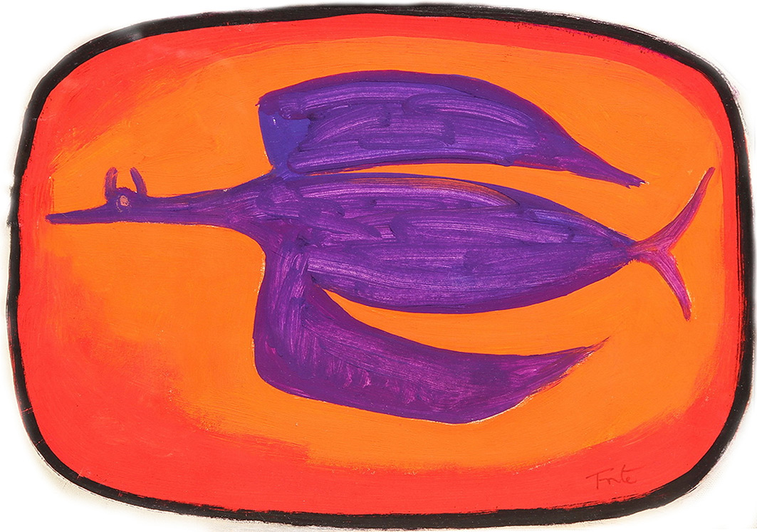 Pájaro Violeta . témpera sobre papel . 33 x 22 cm . 1980