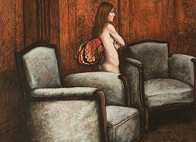 Jorge Alvaro . Desnudo Alado de Pie . acrílico sobre lienzo . 50 x 40 cm . 1993