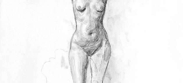 Guillermo Roux . Desnudo con Cartel . carbonilla sobre papel . 100 x 70 cm . 2009
