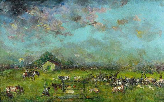 Carlos Ripamonte . En el Campo . óleo sobre lienzo . 68 x 100 cm . 1940