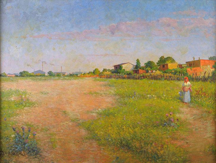 Alfredo Lazzari . Suburbios . óleo sobre hardboard . 54 x 71 cm . 1908