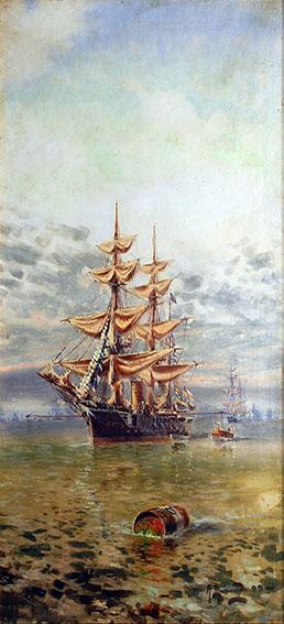 Manuel Larravide . Fragatas . óleo sobre lienzo . 50 x 110 cm . 1899