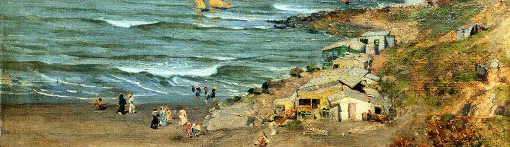 Reinado Giudici . Playa de los Ingleses . óleo sobre lienzo . 39 x 65 cm . 1901