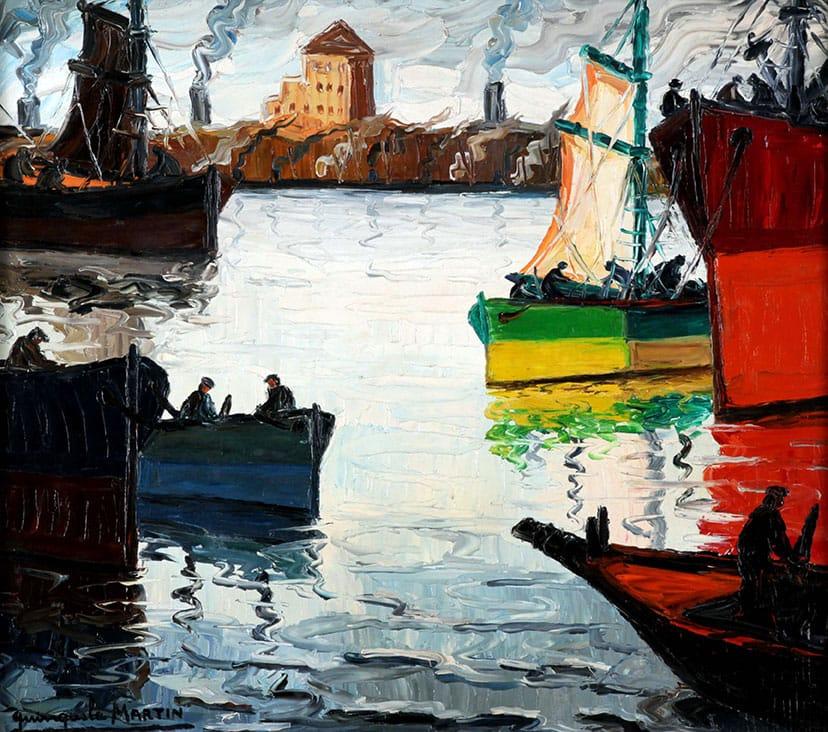 Benito Quinquela Martín . Proas Iluminadas . óleo sobre aglomerado . 80 x 90 cm . 1960