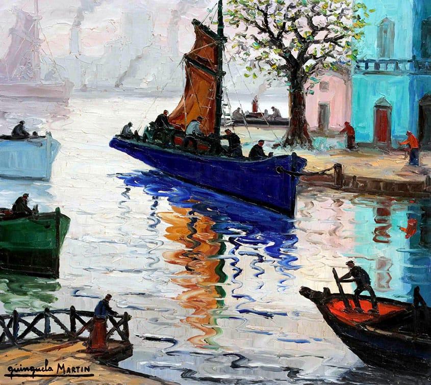 Benito Quinquela Martín . Regresando de la Pesca . óleo sobre aglomerado . 80 x 90 cm . 1960