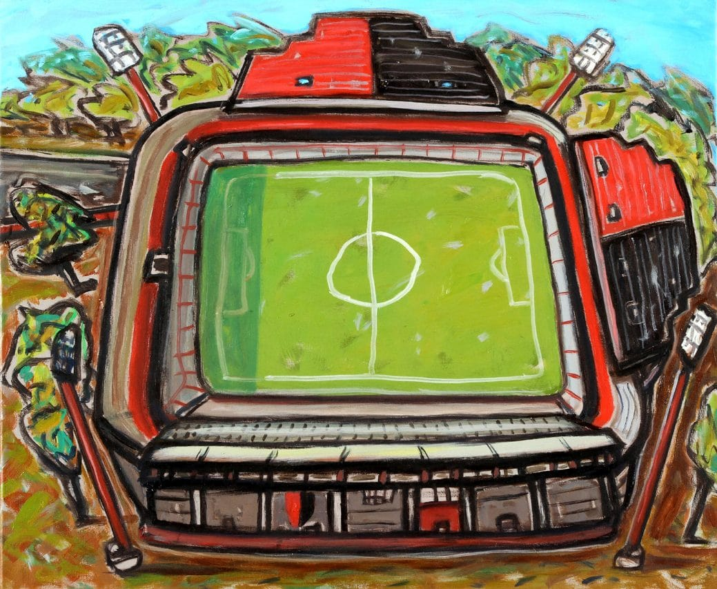 Estadio de Newells Old Boys . óleo sobre lienzo . 50 x 60 cm . 2018