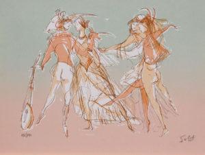 Bailarinas II . serigrafía . 25 x 34 cm . 1980