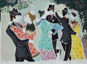 Milonga de Domingo . serigrafía . 45 x 61 cm . 1970