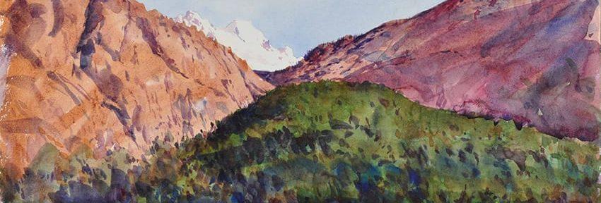 Bosque y Montaña, Bariloche . acuarela sobre papel . 40 x 60 cm . 2012