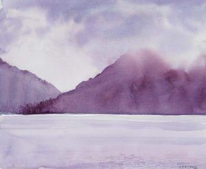 Niebla sobre el Lago . acuarela sobre papel . 28 x 34 cm . 2016