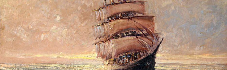 Buque Fantasma . óleo sobre tabla . 50 x 60 cm . 1933
