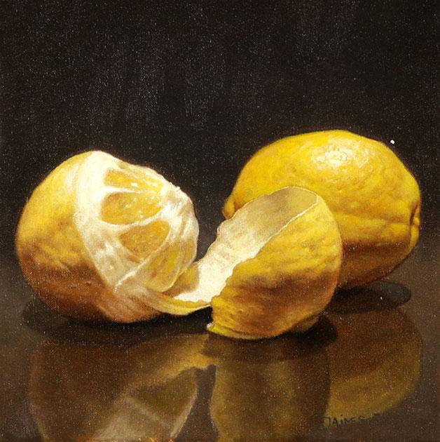 El del Limón Pelado . óleo sobre lienzo . 20 x 20 cm . 2019