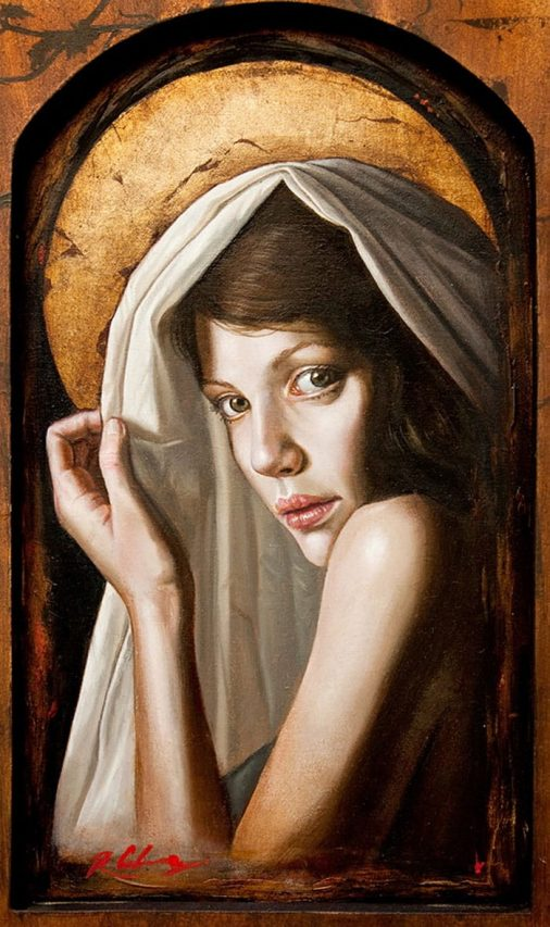 Virgen del Crepúsculo . óleo sobre madera . 40 x 30 cm . 2012