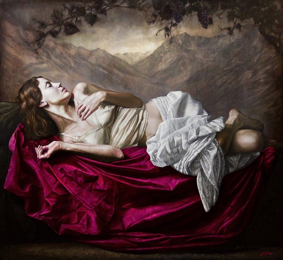 Siesta en las Parras . óleo sobre lienzo . 150 x 160 cm . 2013