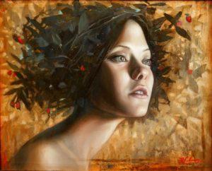 Mujer Floral II . óleo sobre madera . 45 x 55 cm . 2015
