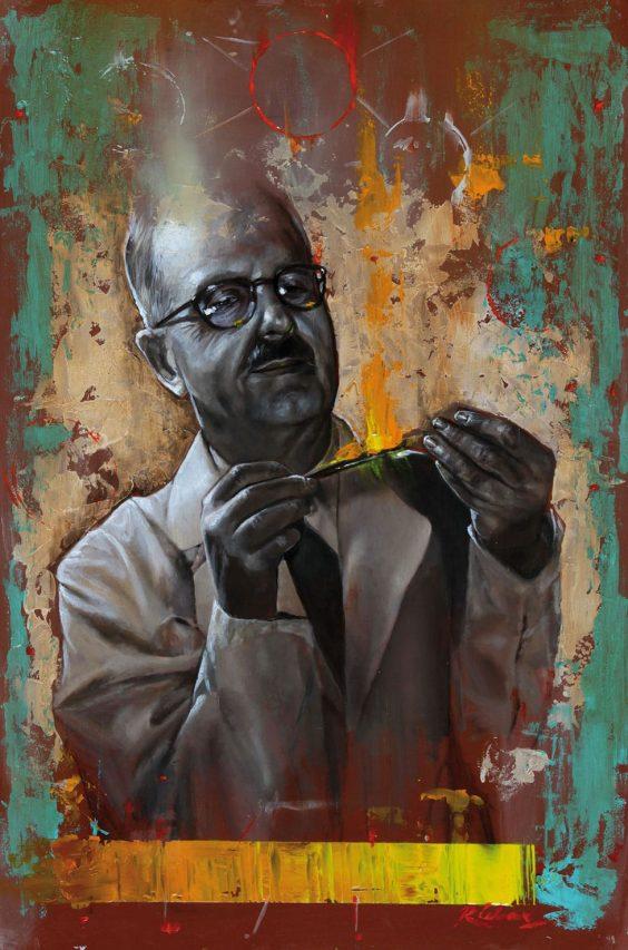 Bernardo Houssay . óleo sobre madera . 60 x 40 cm . 2017